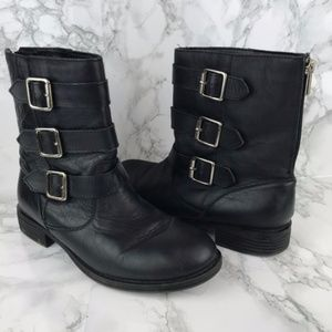 Kenneth Cole Try It Out Black Leather Biker Boots